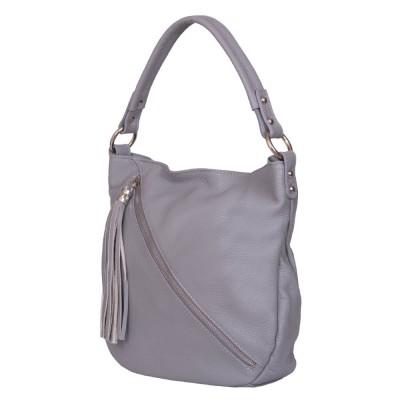 Дамска чанта от естествена кожа Alma, сива