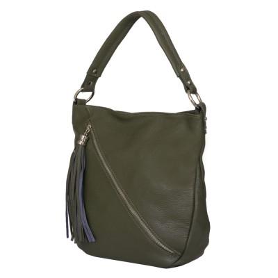 Дамска чанта от естествена кожа Alma, зелен