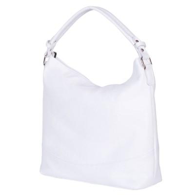 Дамска чанта от естествена кожа Andra, бяла