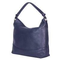 Дамска чанта от естествена кожа Andra, тъмносиня