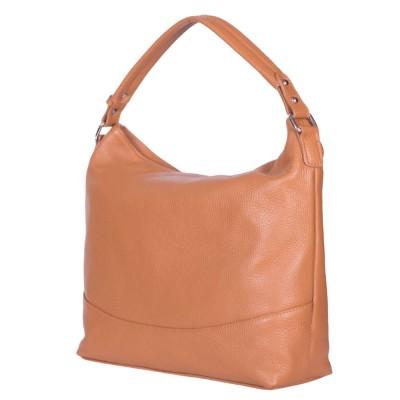 Дамска чанта от естествена кожа Andra, коняк