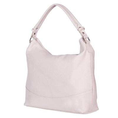 Дамска чанта от естествена кожа Andra, светло бежова