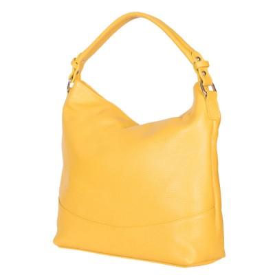 Дамска чанта от естествена кожа Andra, жълта