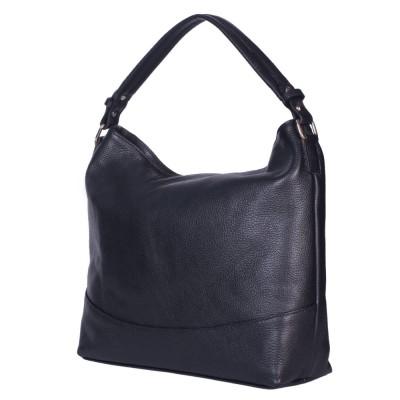 Дамска чанта от естествена кожа Andra, черна