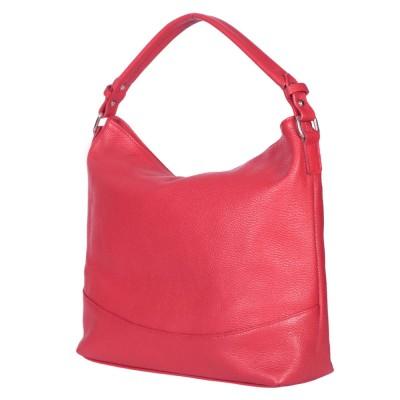 Дамска чанта от естествена кожа Andra, червена