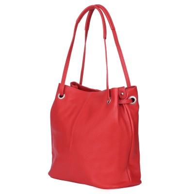 Дамска чанта от естествена кожа Angelica, червена