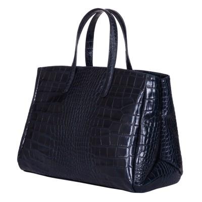 Чанта от естествена кожа Antonia, тъмносиня