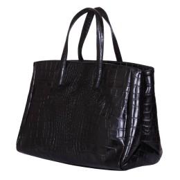 Чанта от естествена кожа Antonia, черна