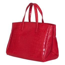 Чанта от естествена кожа Antonia, червена
