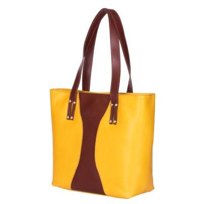 Чанта от естествена кожа Aurora, жълта