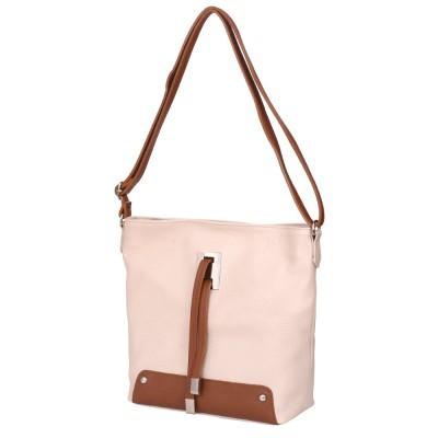 Чанта от естествена кожа Anita, светло бежова
