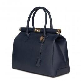 Чанта от естествена кожа Bianca , тъмносиня