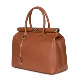 Чанта от естествена кожа Bianca, коняк