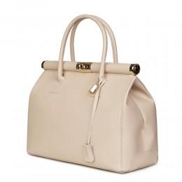 Чанта от естествена кожа Bianca , светло бежова