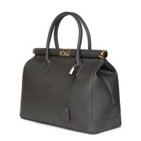 Чанта от естествена кожа Bianca, сива