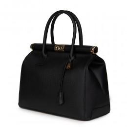 Чанта от естествена кожа Bianca, черна