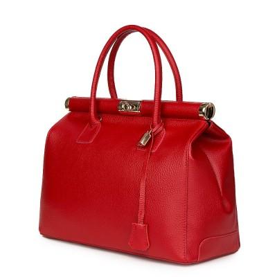 Чанта от естествена кожа Bianca, червена