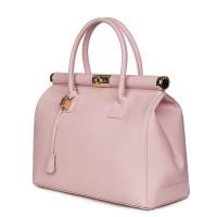 Чанта от естествена кожа Bianca, розова