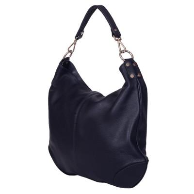 Дамска чанта от естествена кожа Carla, тъмносиня