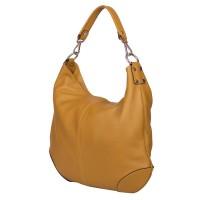 Дамска чанта от естествена кожа Carla, жълта