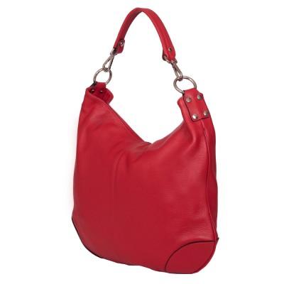 Дамска чанта от естествена кожа Carla, червена