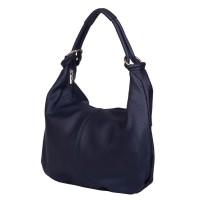 Дамска чанта от естествена кожа Caterina, тъмносиня