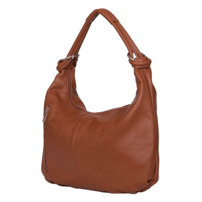 Дамска чанта от естествена кожа Caterina, коняк