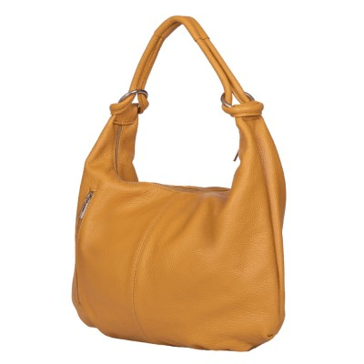 Дамска чанта от естествена кожа Caterina, жълта