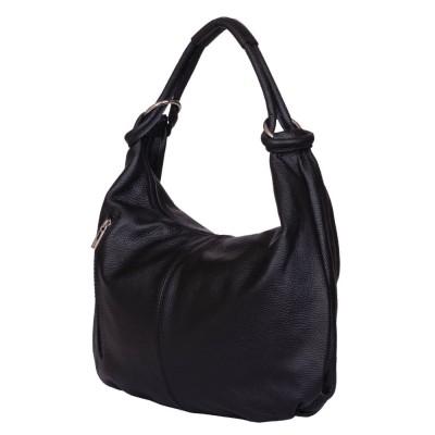 Дамска чанта от естествена кожа Caterina, черна
