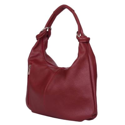 Дамска чанта от естествена кожа Caterina, червена