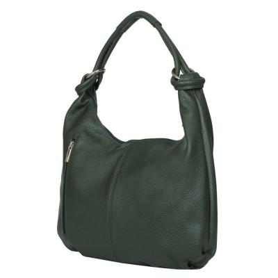 Дамска чанта от естествена кожа Caterina, зелена