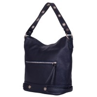 Дамска чанта от естествена кожа Cellia, тъмносиня