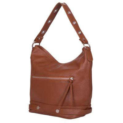 Дамска чанта от естествена кожа Cellia, коняк