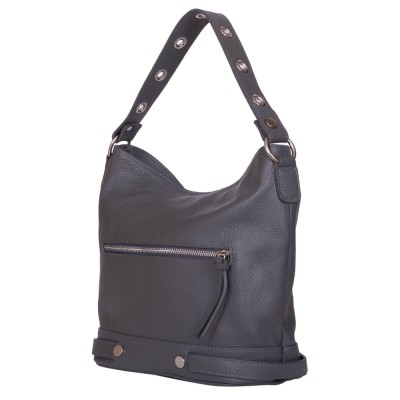 Дамска чанта от естествена кожа Cellia, сива