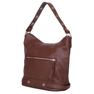 Дамска чанта от естествена кожа Cellia, кафява