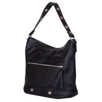 Дамска чанта от естествена кожа Cellia, черна