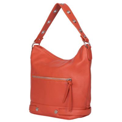Дамска чанта от естествена кожа Cellia, оранжева