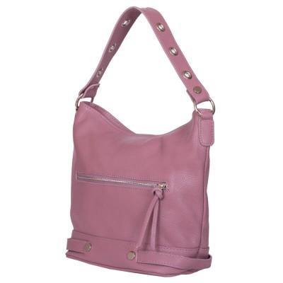 Дамска чанта от естествена кожа Cellia, розова