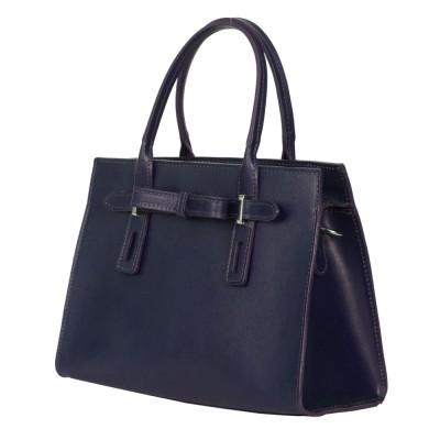 Чанта от естествена кожа Claire, тъмносиня