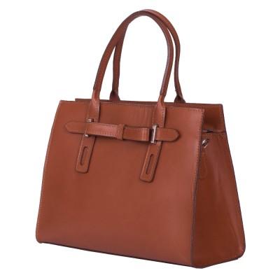 Чанта от естествена кожа Claire, кафява