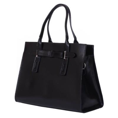 Чанта от естествена кожа Claire, черна
