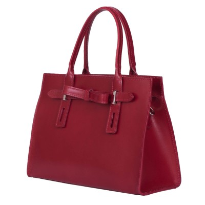 Чанта от естествена кожа Claire, червена