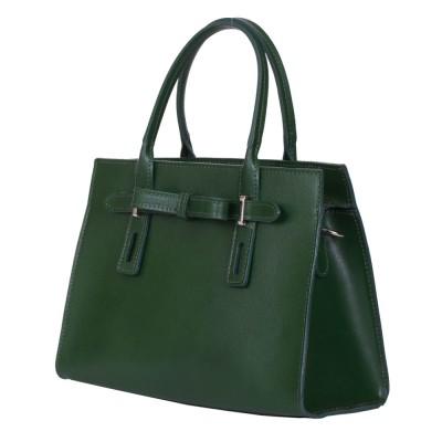 Чанта от естествена кожа Claire, зелена
