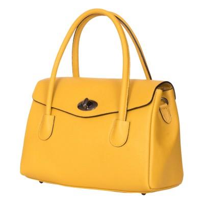Чанта от естествена кожа Corona, жълта