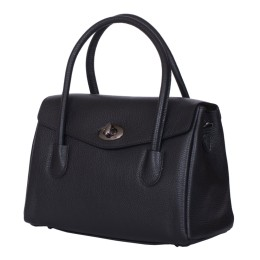 Чанта от естествена кожа Corona, черна