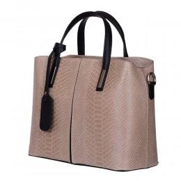Чанта от естествена кожа Ella, бежова