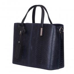Чанта от естествена кожа Ella, тъмносиня