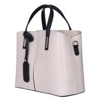Чанта от естествена кожа Ella, кремава