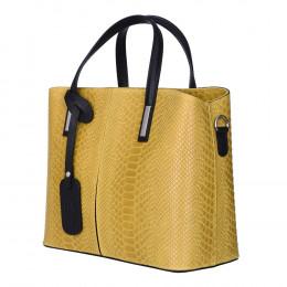 Чанта от естествена кожа Ella, жълта