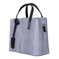 Чанта от естествена кожа Ella, сива